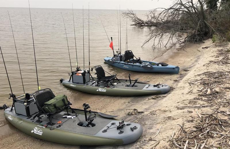 Kayak fishing at River Bend's Resort & Walleye Inn.
