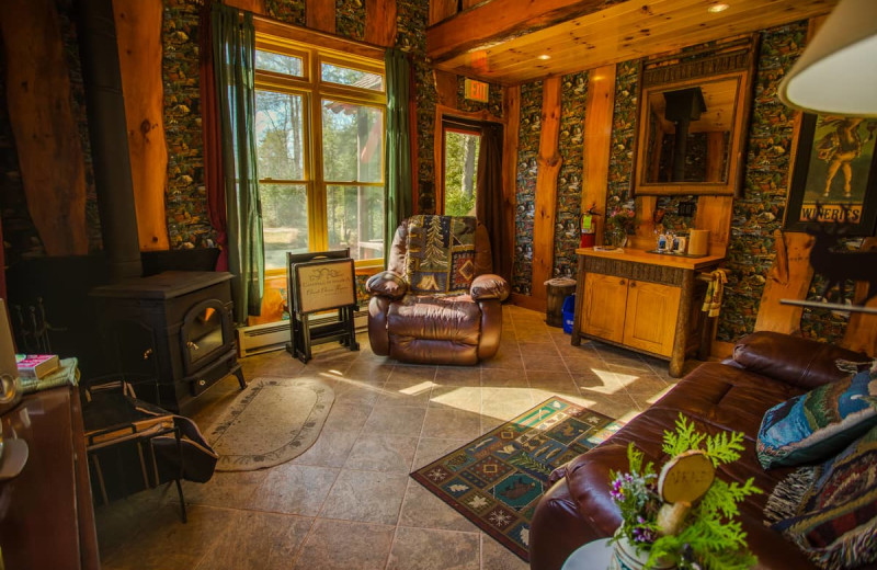 Cabin living room at Lake Clear Lodge & Retreat.