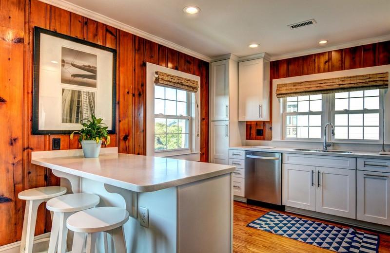Rental kitchen at Topsail Realty.