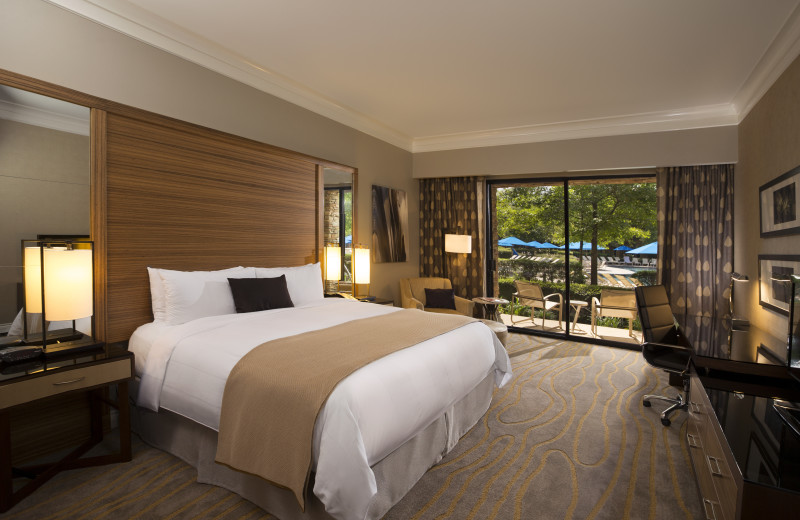 Guest room at The Woodlands Resort and Conference Center.