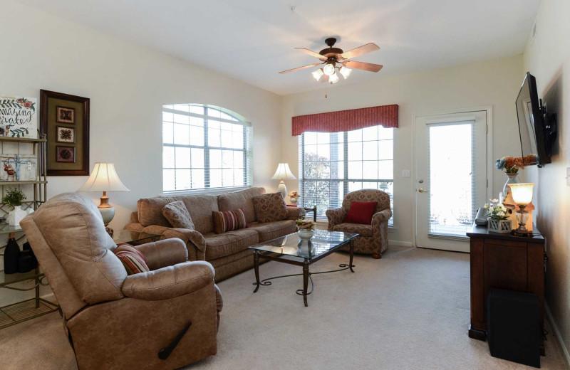 Rental living room at Branson Vacation Rentals.