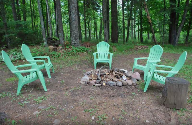 Cabin fire pit at Whiplash Lake Resort.