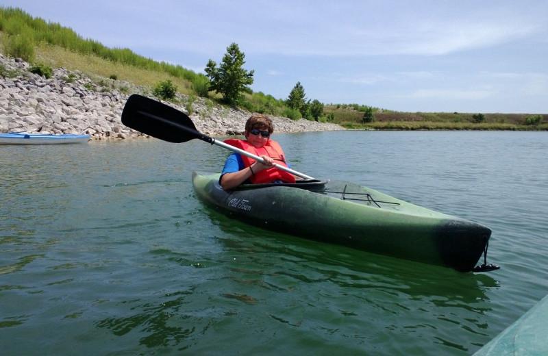 Kayaking at Joshua Creek Ranch.