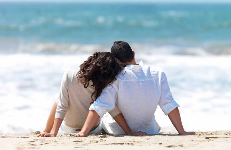 Couple on beach near High Point Inn.