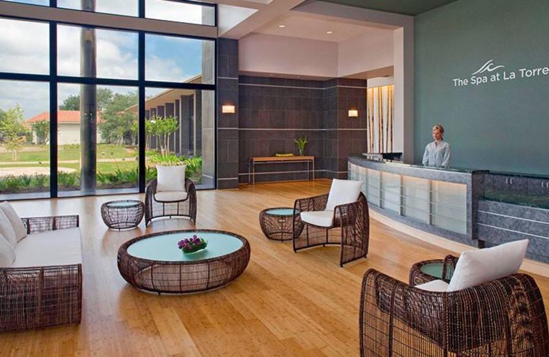 Spa lounge at La Torretta Lake Resort & Spa.