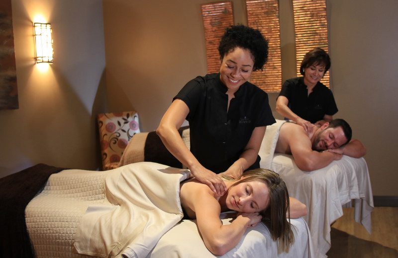 Couples treatment room at Alluvia Spa & Wellness Retreat, Cheyenne Mountain Resort's on-site spa.
