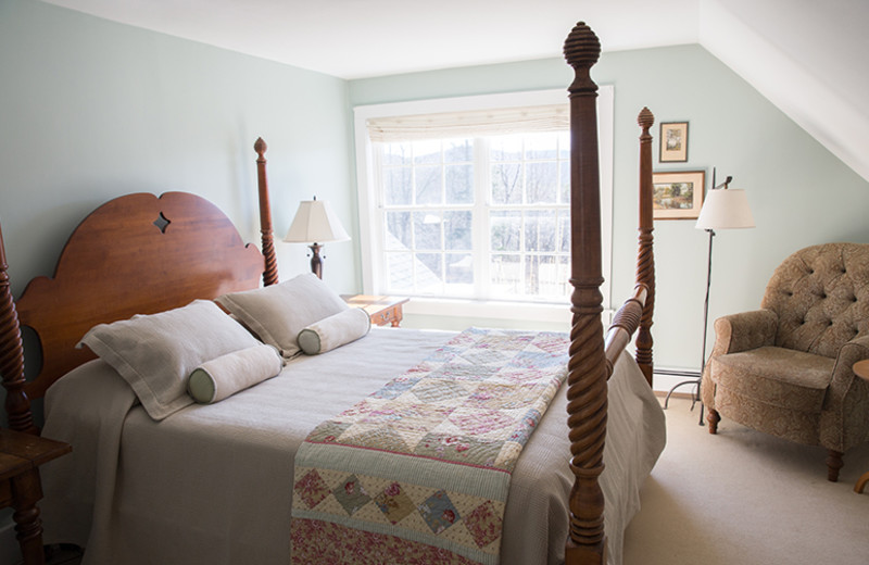 Guest room at The Red Clover Inn & Restaurant.