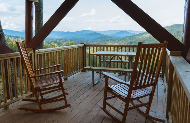 Deck view of mountains at Yogi Bear's Camp Golden Valley.