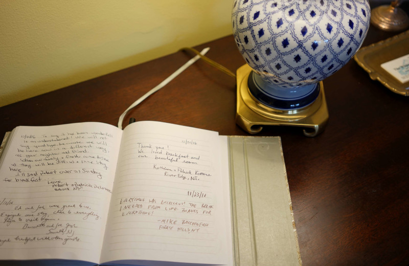 Guestbook at The White House Inn.