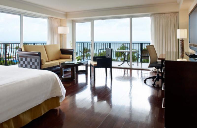 Guest room at Aruba Marriott Resort and Stellaris Casino.