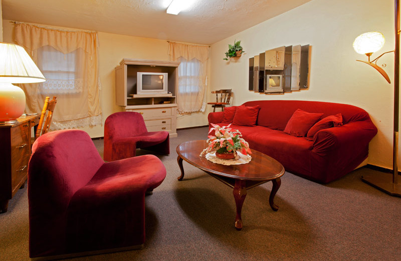 Guest living room area at Delaware Court Motel.
