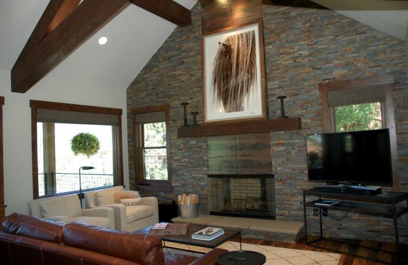 Rental living room at Alpine Getaways.