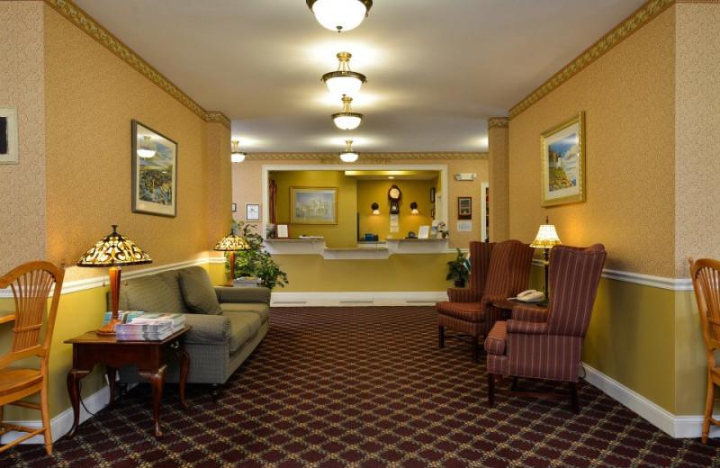 Lobby view at Bar Harbor Grand Hotel.