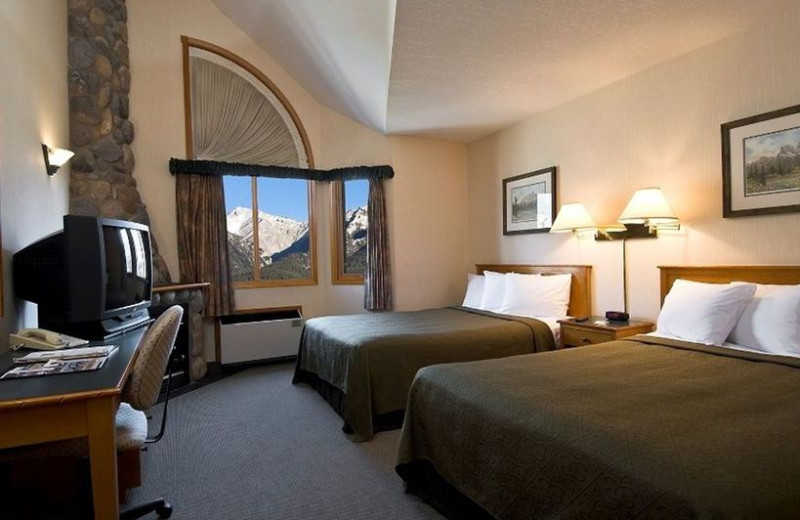 Guest room at Quality Resort Chateau Canmore.