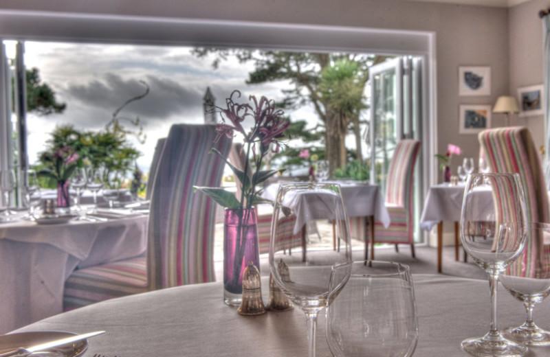 Dining at Talland Bay Hotel.