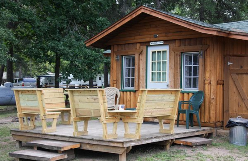 Cabin exterior at Log Cabin Resort & Campground.