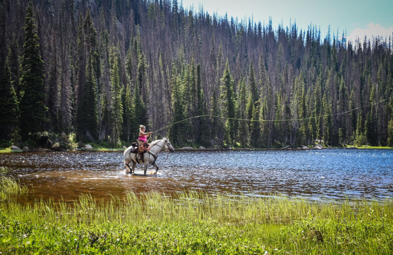 Horseback fishing at Rawah Guest Ranch.