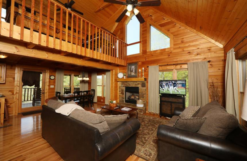 Cabin living room at Little Valley Mountain Resort.