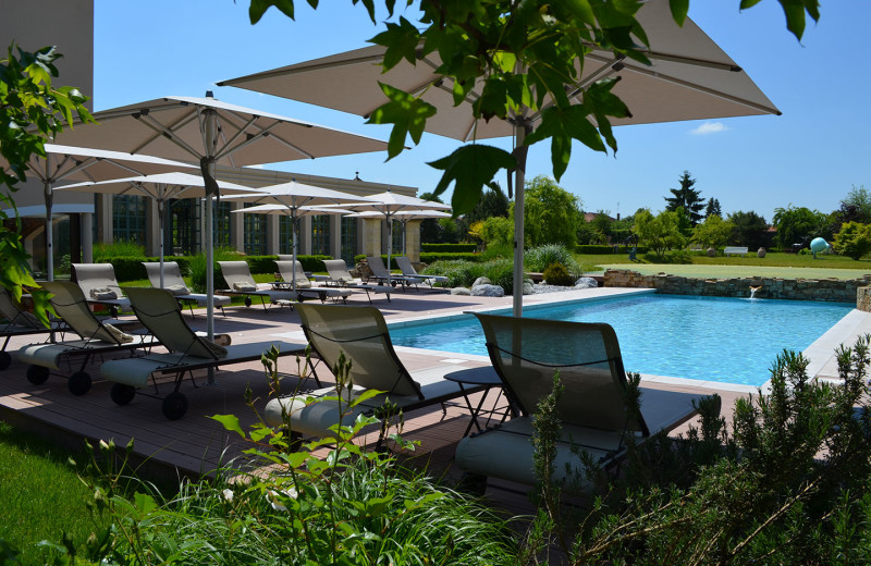 Outdoor pool at Georges Blanc.