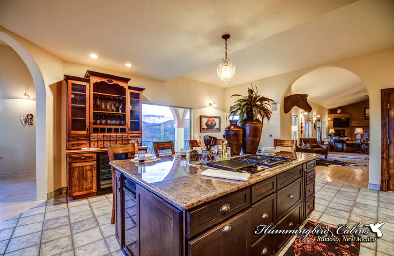 Rental kitchen at Hummingbird Cabins.