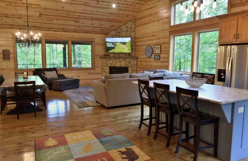 Rental interior at White Glove Luxury Cabins.