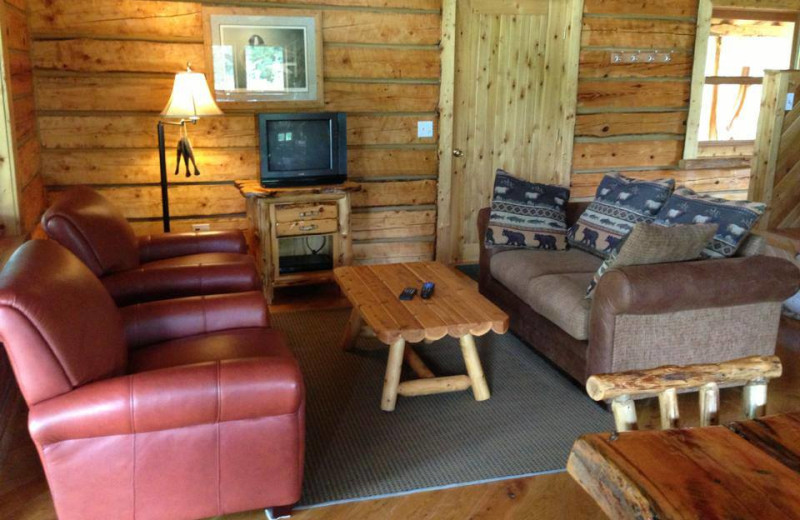 Cabin living room at Papins Log Cabin Resort.
