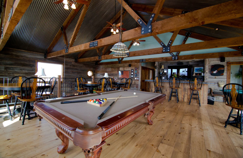 Game room at Whispering Oaks Ranch.