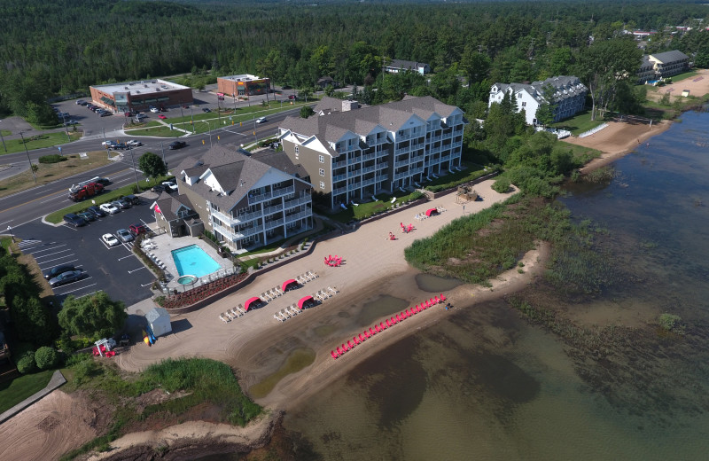 Aerial view of The Cherry Tree Inn & Suites.