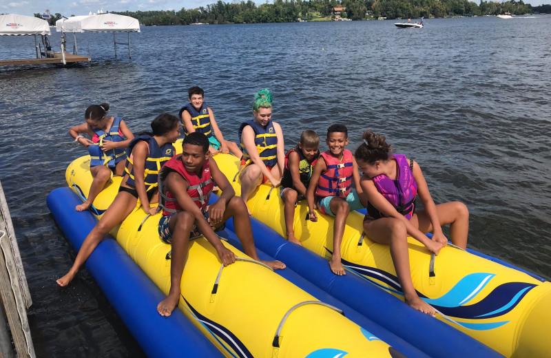 Banana boat at Cragun's Resort and Hotel on Gull Lake.