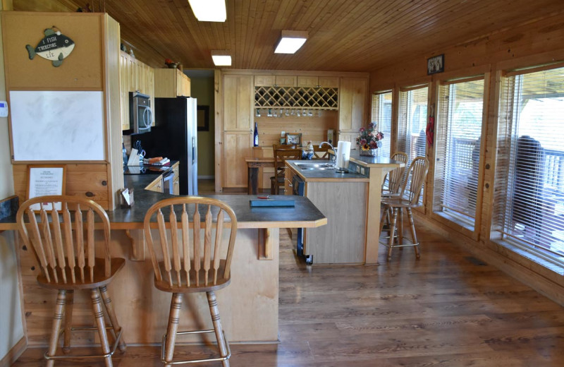 Cabin kitchen at Can-U-Canoe Riverview Cabins.