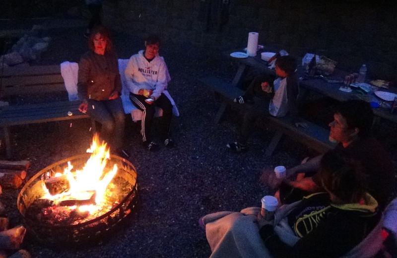 Family campfire at Cliffside Resort.