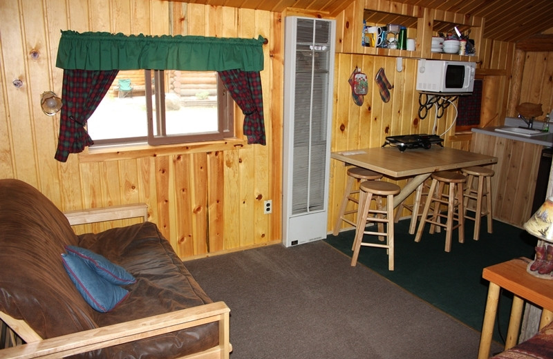 Cabin interior at Absaroka Mountain Lodge.