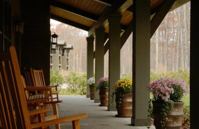 Porch view at The Lodge at Woodloch.