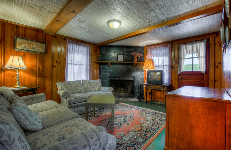 Cottage living room at Cottage Place on Squam Lake.