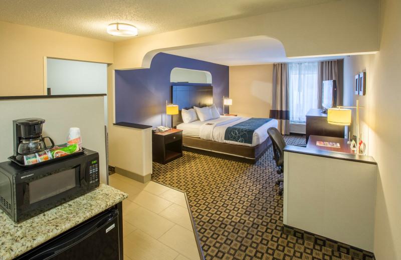 Guest room at Comfort Suites Benton Harbor.