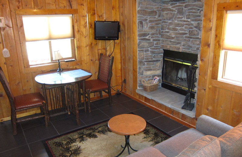 Cabin living room at Amberwood.