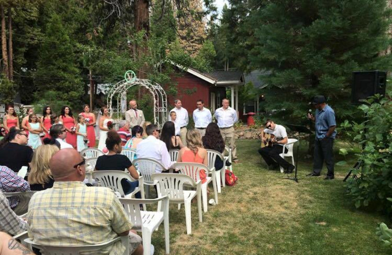 Wedding ceremony at Long Barn Lodge.