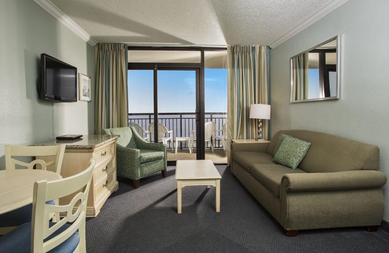 Guest room at Grande Shores Ocean Resort.