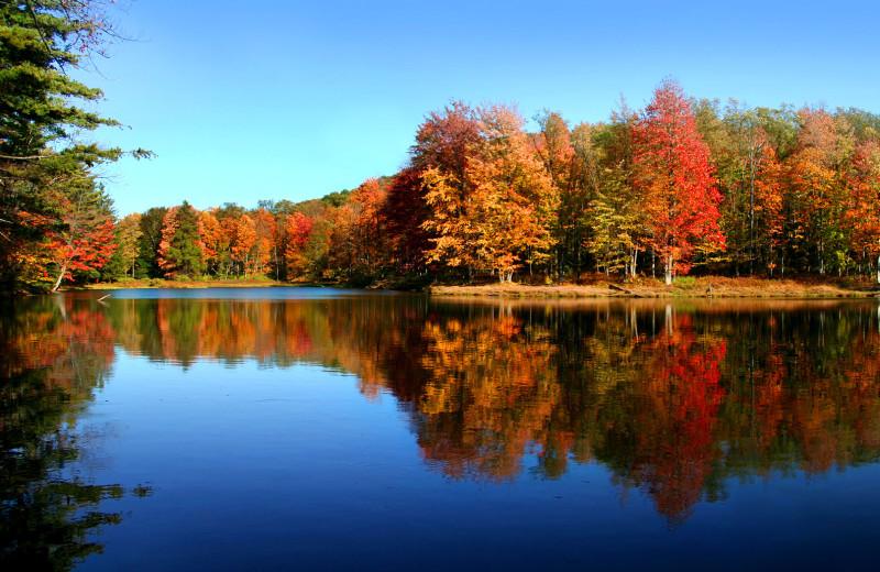 Lake Echo in the fall at Pocono Palace Resort.