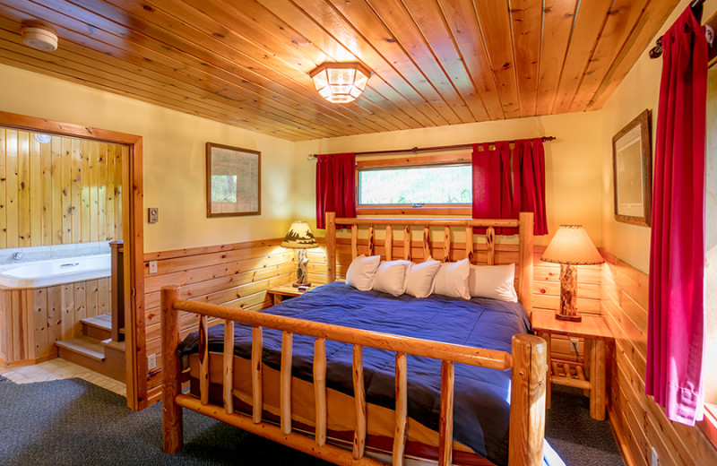 Guest bedroom at Gunflint Lodge.