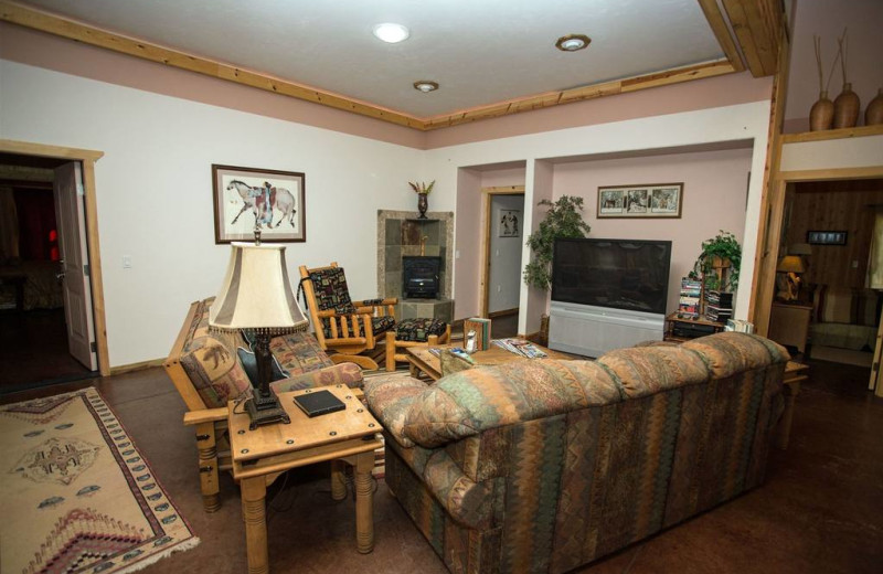 Downstairs guest living room in the Homestead Lodge Four Seasons Unit, or entire lodge with big screen TV. Open to social kitchen.