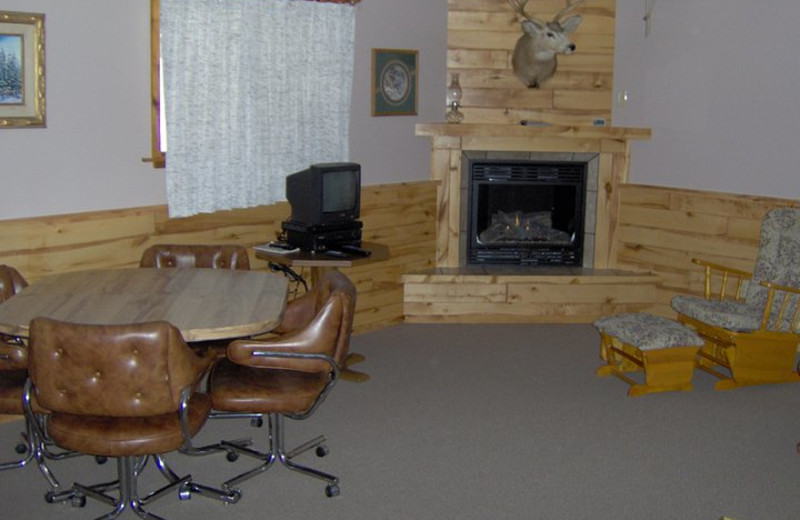 Cabin living room at Lone Wolf Cabins and Getaway.