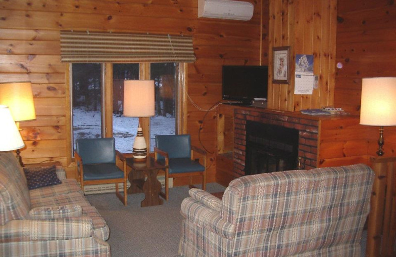 Cabin living room at Idle Hours Resort.
