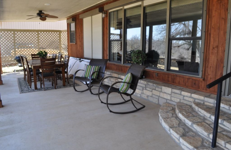 Rental porch at Lake LBJ Legacy Lakehouse.
