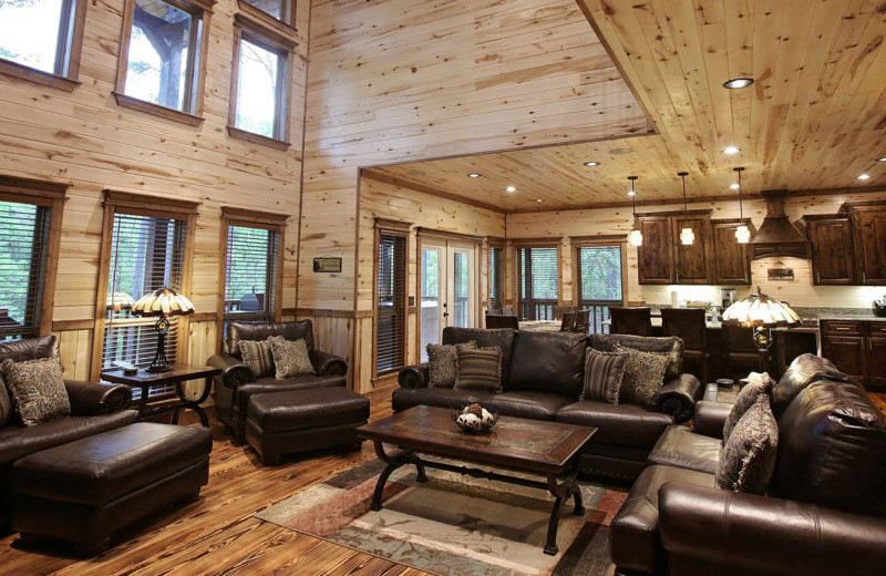 Cabin living room at Heartpine Hollow Cabin.