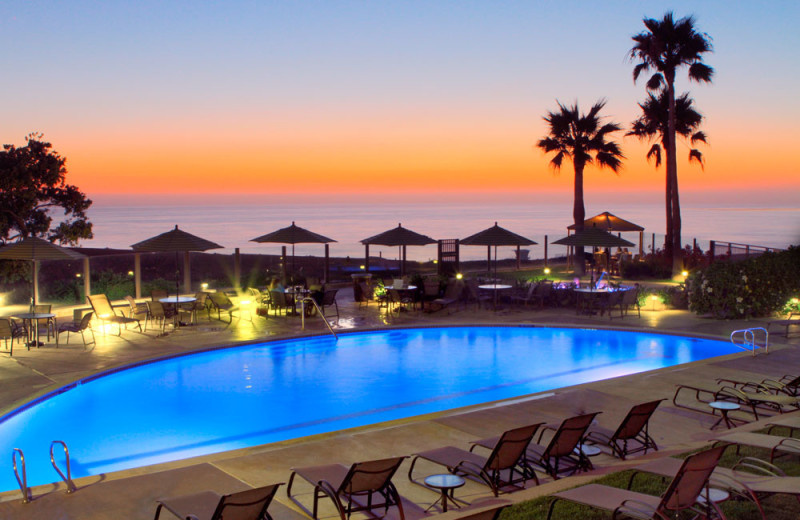 Adult Swimming Pool at Dusk at the Carlsbad Seapointe Resort
