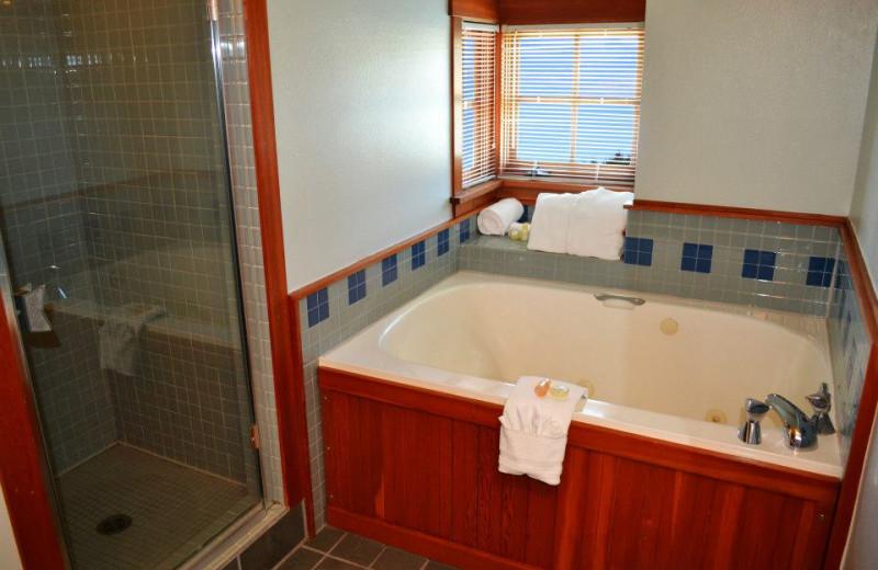 Guest bathroom at La Conner Channel Lodge.