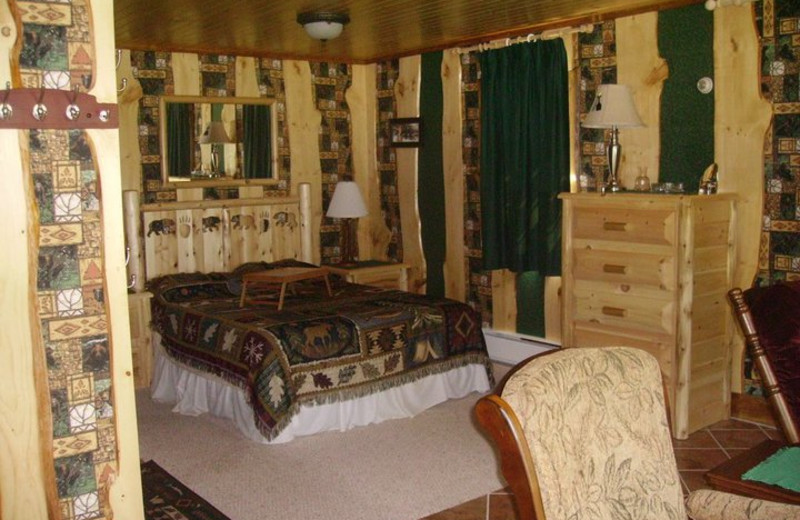Guest room at Hohmeyer's Lake Clear Lodge.