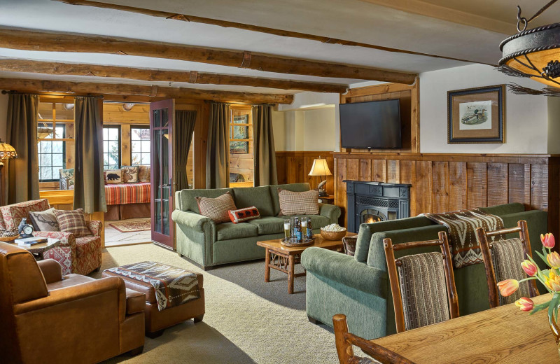 Guest living room at The Whiteface Lodge.