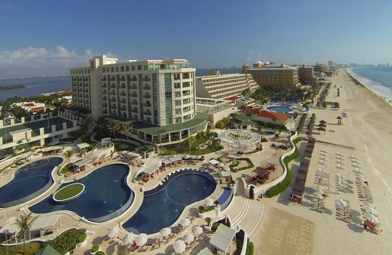 Exterior view of Sandos Cancun Luxury Experience Resort.